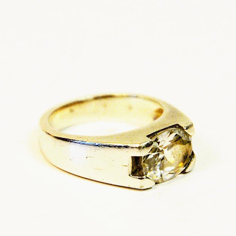Vintage Silverring with Cut Rock Crystal Stone 1970s, Sweden In Good Condition For Sale In Stockholm, SE