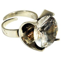 Vintage Silverring with Cut Rock Crystal Stone by Martti J Hyvärinen, Finland