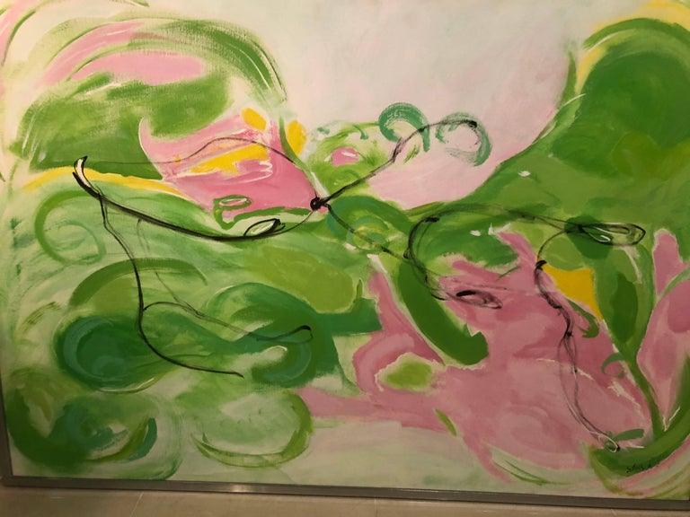Vintage Silvia Lieb Acrylic in Canvas Abstract Painting Palm Beach For Sale 3