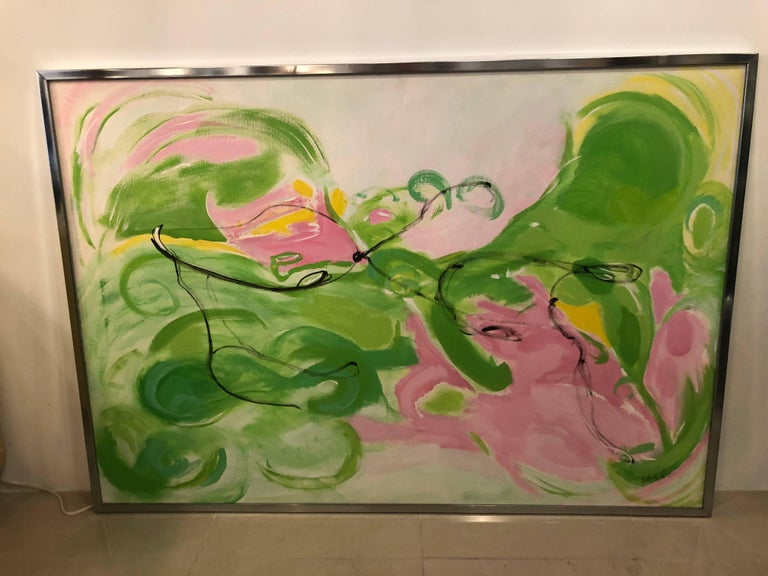 Vintage Silvia Lieb Acrylic in Canvas Abstract Painting Palm Beach For Sale 4