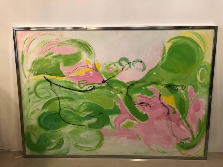 American Vintage Silvia Lieb Acrylic in Canvas Abstract Painting Palm Beach For Sale
