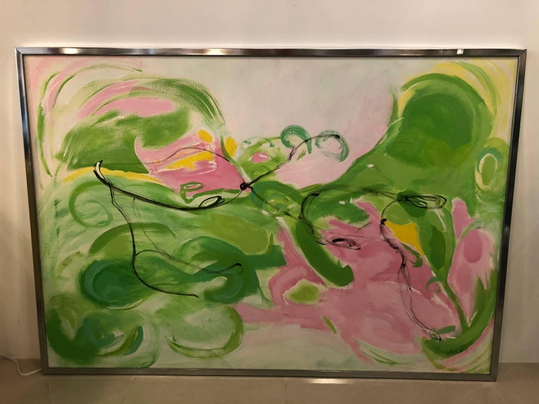 Vintage Silvia Lieb Acrylic in Canvas Abstract Painting Palm Beach In Good Condition For Sale In West Palm Beach, FL