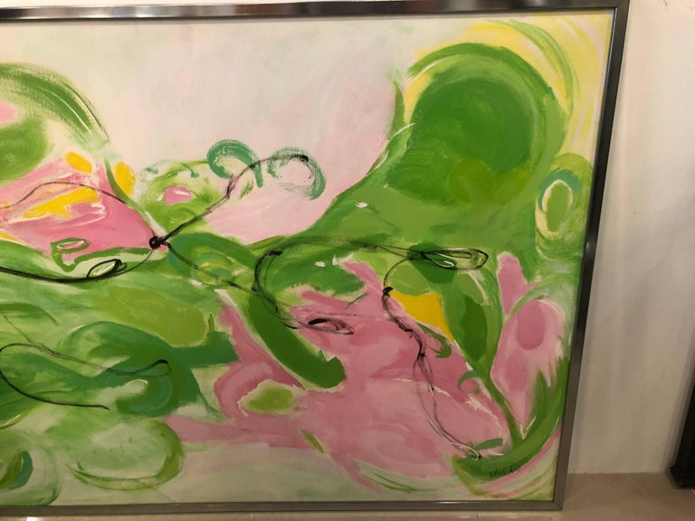 Mid-20th Century Vintage Silvia Lieb Acrylic in Canvas Abstract Painting Palm Beach For Sale