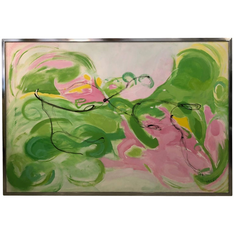 Vintage Silvia Lieb Acrylic in Canvas Abstract Painting Palm Beach For Sale