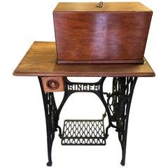Vintage Singer Sewing Machine on Original Cast Iron Base