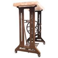 Vintage Singer Sewing Machine Side Hall Treadle Table Industrial