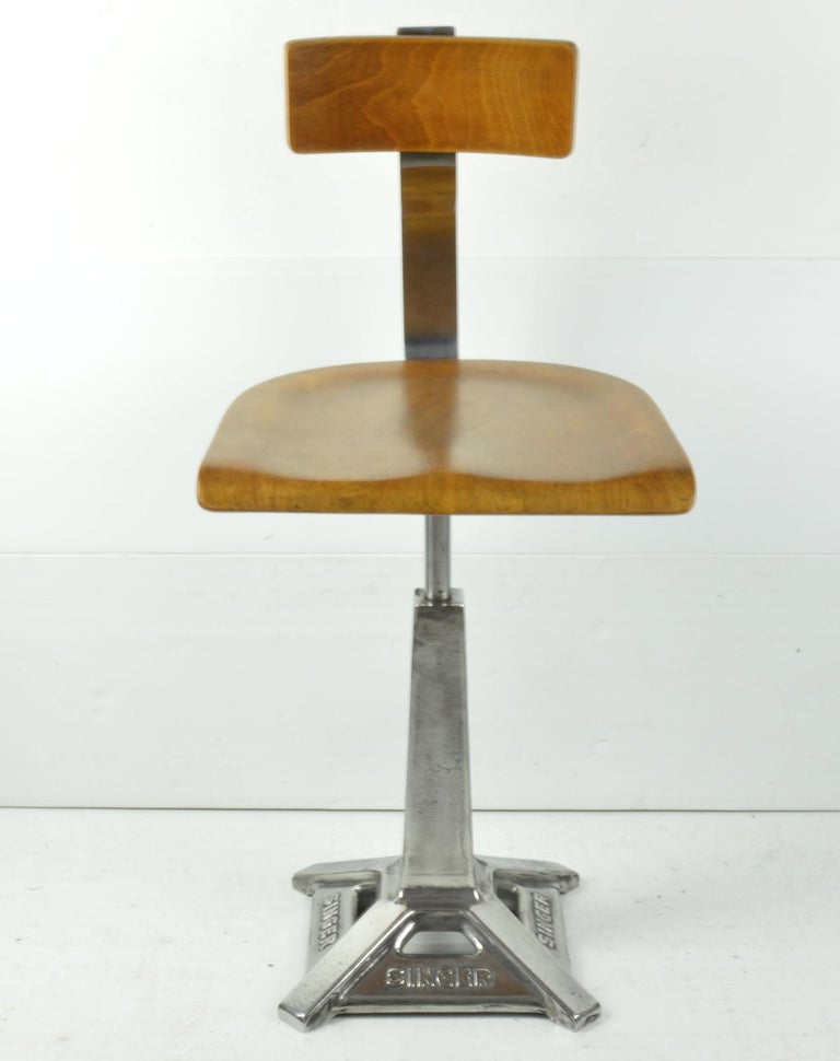Industrial Vintage Singer Sewing Machinists Chair, English, circa 1930