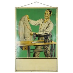 Tin Singer Sign with Tailor and Singer Sewing Machine, 1930s