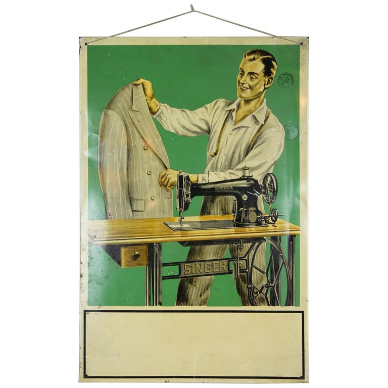 Vintage Singer Sewing Sign with Tailor and Singer Sewing Machine