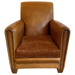 Vintage Single French Art Deco Brown Leather Club Chair with Mohair Covered Seat