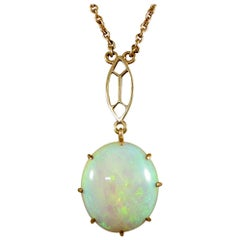 Vintage Single Opal Pendant Necklace on Bail Linked 9 Carat Yellow Gold Chain