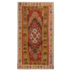 Vintage Sivas Green and Red Wool Kilim Rug