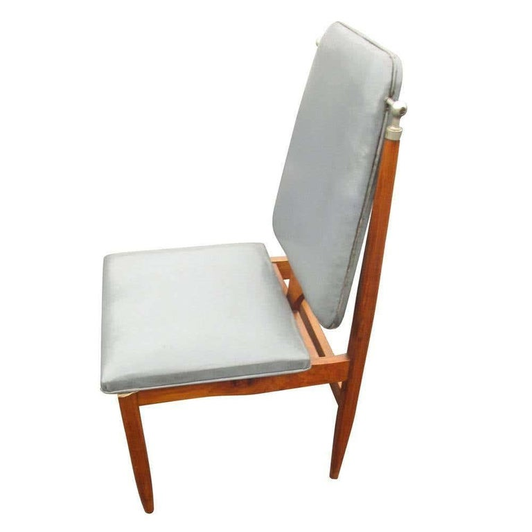 Vintage mid-century set of six (6) dining chair  Grey faux leather upholstered seat and back. Tapered legs with chrome details. circa 1960s.  Measures: 17.5
