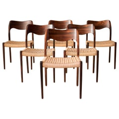 Vintage Six Rosewood and Paper Cord Niels Otto Møller Dining Chairs No. 71, Set