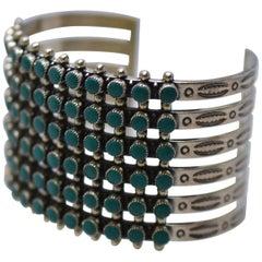 Vintage Six-Row Zuni Snake Eyes Sterling & Turquoise Cuff Bracelet