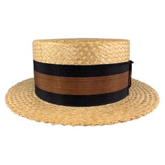 Vintage Size 7 1/8 Khaki Straw Navy & Copper Band Boater Hat