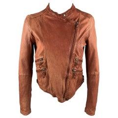 VINTAGE Size L Rust Brown Distressed Leather Zip Up Jacket