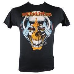 VINTAGE Size M Black Metal Head Rock 80s Graphic Cotton / Polyester T-shirt