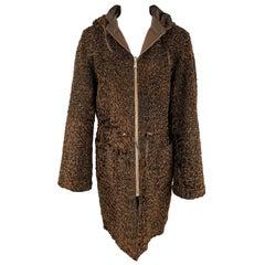 VINTAGE Size M Brown Stripe Astrakhan Fur Reversible Hooded Jacket