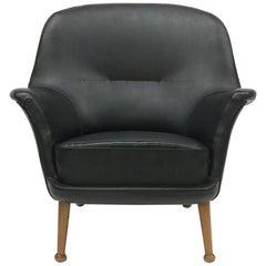 Vintage Skai Upholstered Armchair with Teak Legs, 1950s