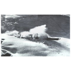 Vintage Ski Photograph, Nose Dive, Alpine Mountain Image