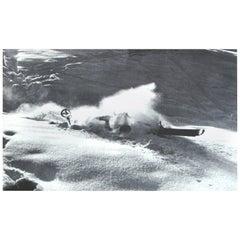 Vintage Ski Photograph, Nose Dive, Alpine Mountain Image