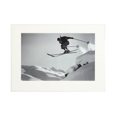 Vintage Ski Photography, Antique Alpine Ski Photograph, 'A Courageous Jump'