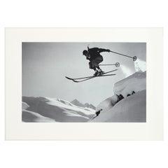 Vintage Ski Photography, Antique Alpine Ski Photograph, 'A Courageous Jump'