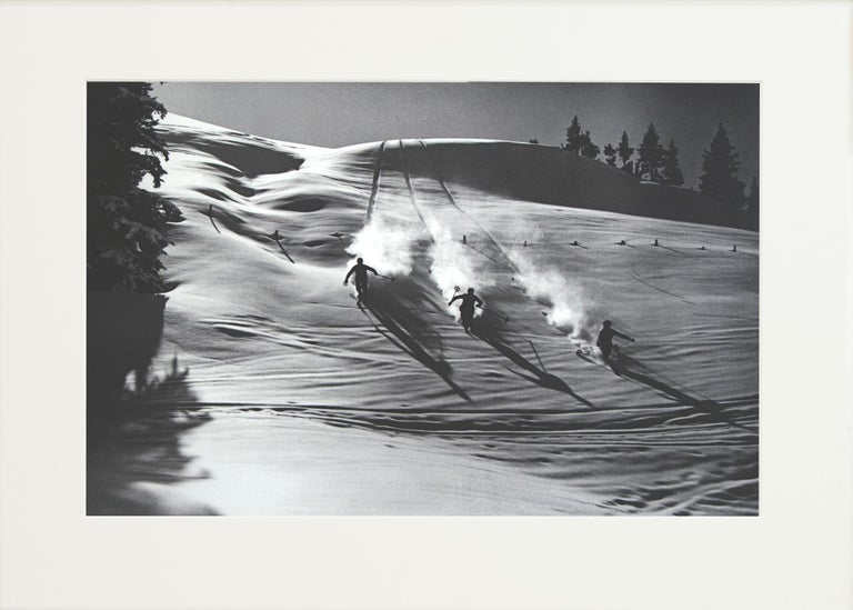 Sporting Art Vintage Ski Photography, Antique Alpine Ski Photograph, 'Descent in Powder' For Sale