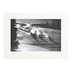 Vintage Ski Photography, Antique Alpine Ski Photograph, 'Descent in Powder'