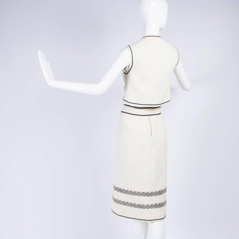 Vintage Skirt & Vest Suit in Ivory Wool Crepe W/ Black Trim & Tassel Belt France For Sale 1
