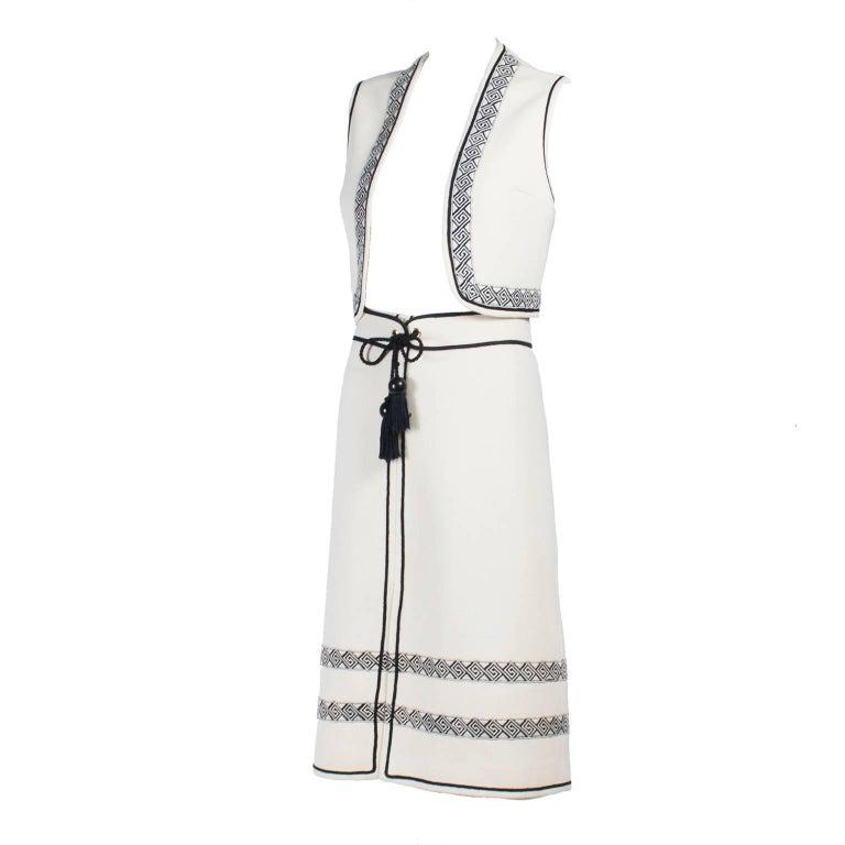 Vintage Skirt & Vest Suit in Ivory Wool Crepe W/ Black Trim & Tassel Belt France For Sale