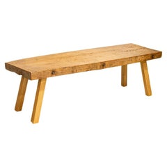 Vintage Slab Wood Coffee Table with Splay Legs from Hungary