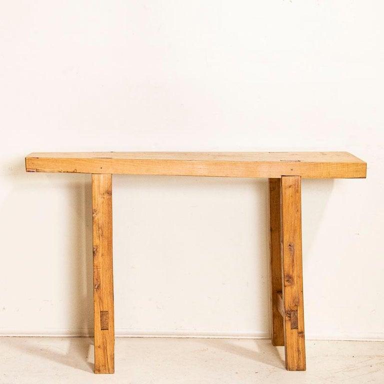 European Vintage Slab Wood Console Table For Sale