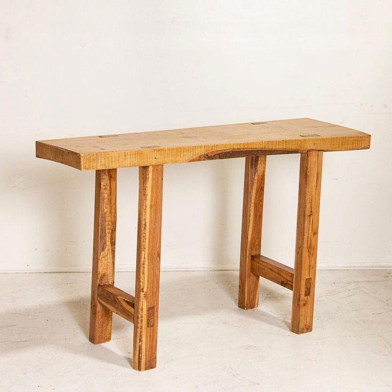 Vintage Slab Wood Console Table In Good Condition For Sale In Round Top, TX