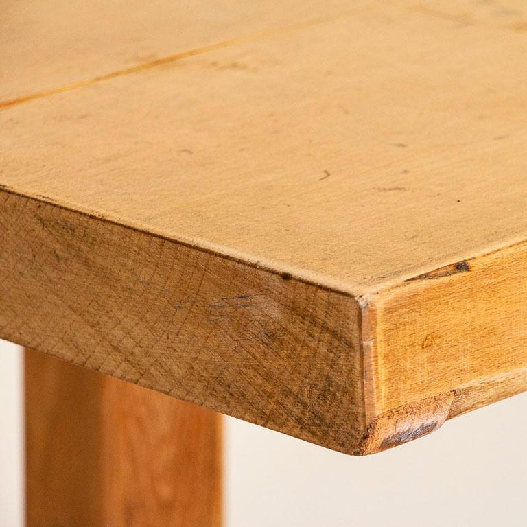 20th Century Vintage Slab Wood Console Table For Sale