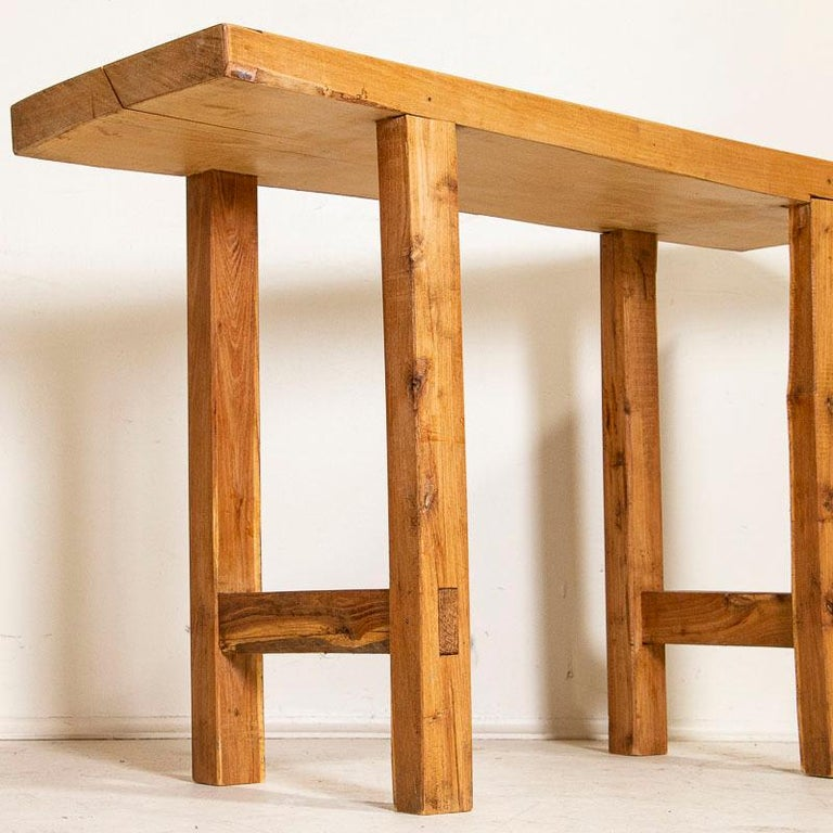 Vintage Slab Wood Console Table For Sale 2