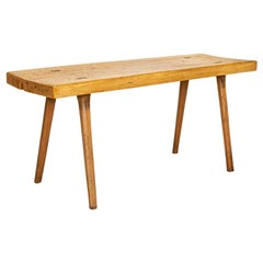 Vintage Slab Wood Console Table with Splay Legs