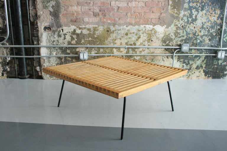 Vintage Slat Table with Iron Legs For Sale 4
