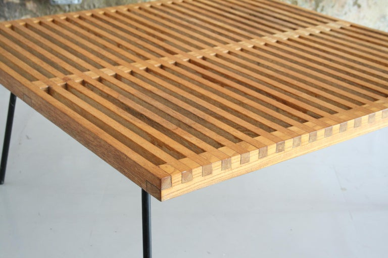 Mid-Century Modern Vintage Slat Table with Iron Legs For Sale