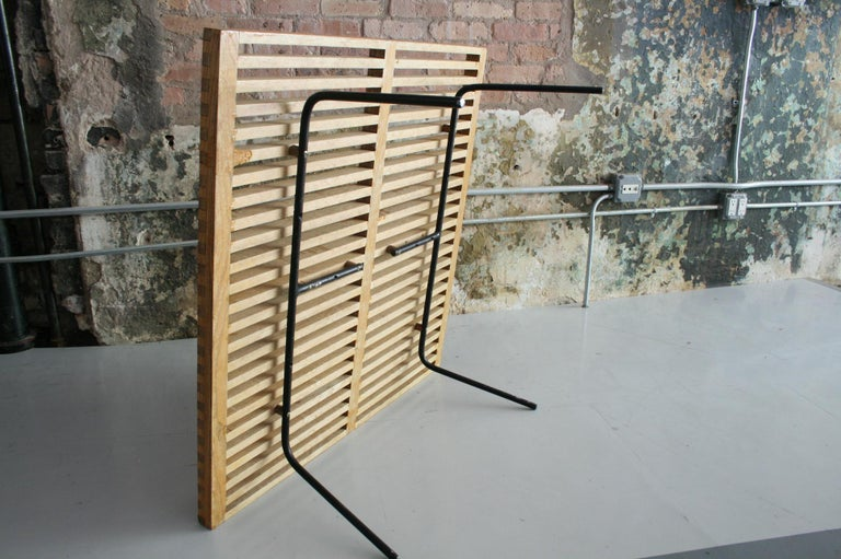 20th Century Vintage Slat Table with Iron Legs For Sale