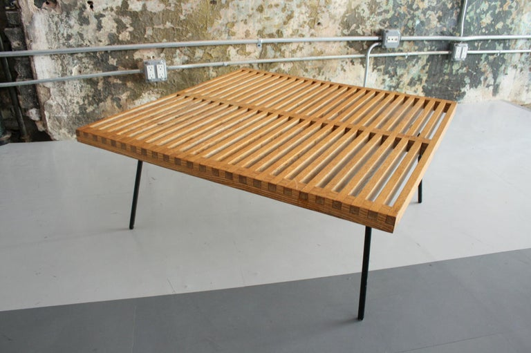 Oak Vintage Slat Table with Iron Legs For Sale