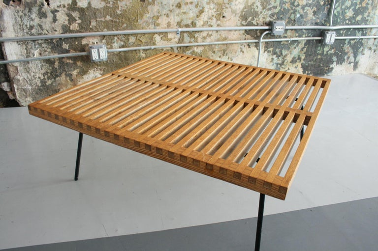 Vintage Slat Table with Iron Legs For Sale 1