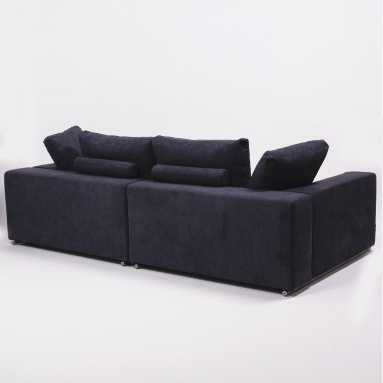 Vintage Slate Grey Fabric Sectional Sofa by Flexform For Sale 6