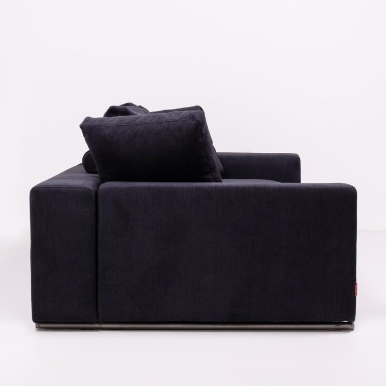 Vintage Slate Grey Fabric Sectional Sofa by Flexform For Sale 7