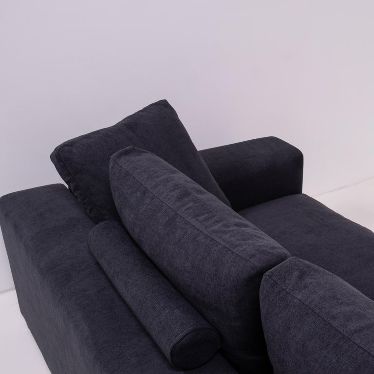 Italian Vintage Slate Grey Fabric Sectional Sofa by Flexform For Sale
