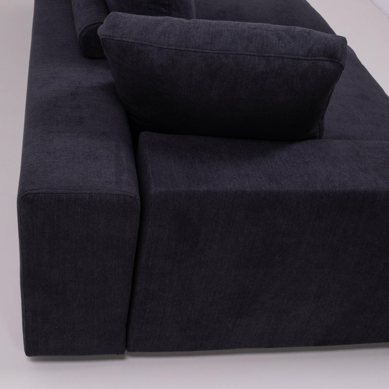 Vintage Slate Grey Fabric Sectional Sofa by Flexform In Good Condition For Sale In London, GB
