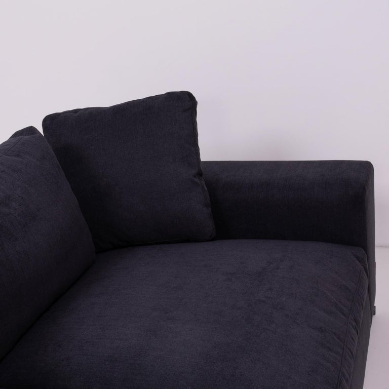 Late 20th Century Vintage Slate Grey Fabric Sectional Sofa by Flexform For Sale