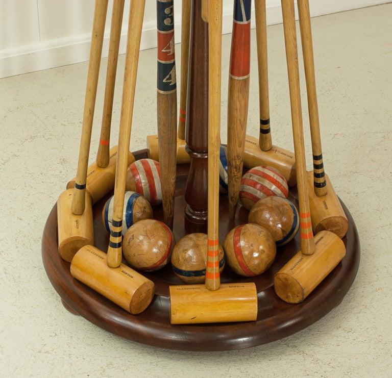 Vintage Slazenger Eight Mallet Croquet Set On Stand 19th