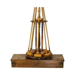 Vintage Slazenger Eight Mallet Croquet Set on Stand, 19th Century Boxwood